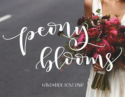 Peony Blooms Hand-lettered Font Pair