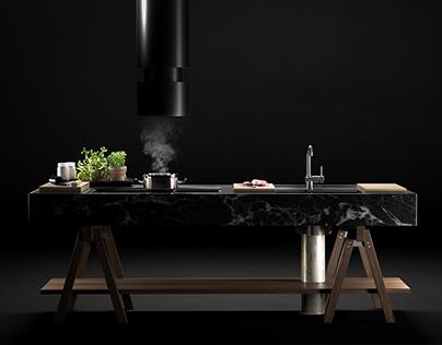 Modular kitchen cgi.