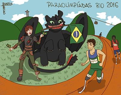 Ilustração Soluço e Banguela - Paralimpíadas Rio 2016