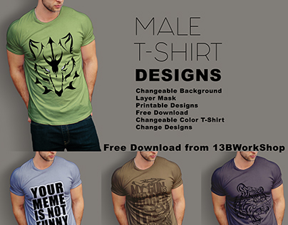 6 male T-Shirts Designs