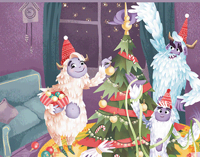 Yeti and winter holidays. Family look collection.