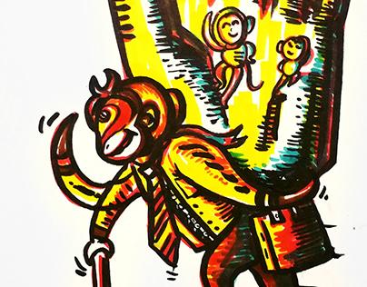 editorial cartoon.hero of painting