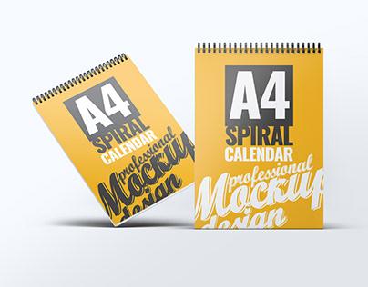 A4 Spiral Calendar Mock-Up