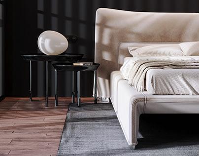Bedroom design concept and 3d visualization
