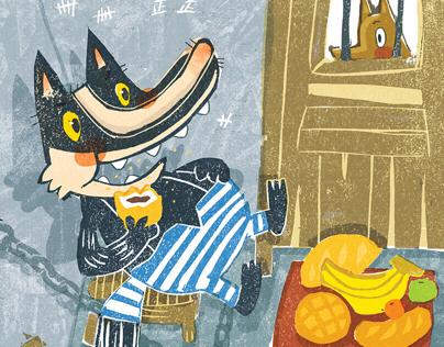 woodblock for children'sbook-笨狼的故事