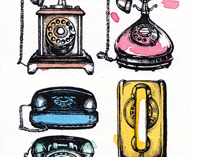 Pop Art Illustration Retro Telephone Ink and Watercolor