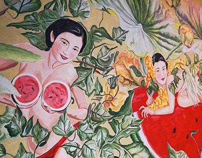 Watermelon Vintage Mural Painting