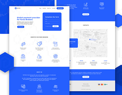 Landing page for the global payment provider