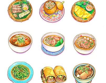 色鉛筆插畫 / 越南美食插畫 Colored Pencil Food Illustration