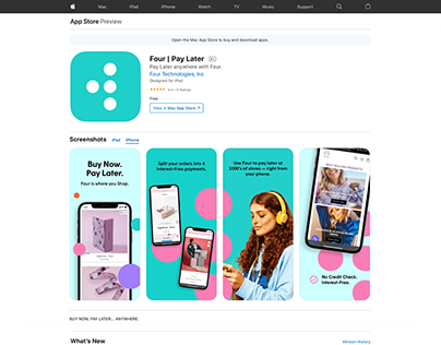 Four - Buy Now, Pay Later app preview for App Store