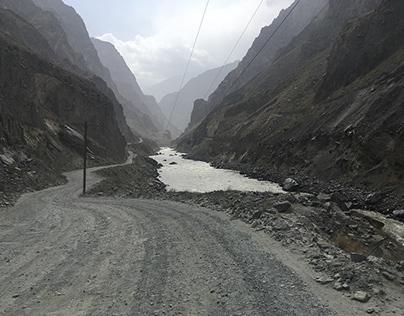 The border between Tajikistan and Afghanistan