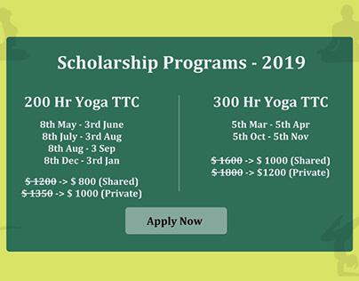 200 and 300 Hour Yoga Scholarships in Rishikesh India