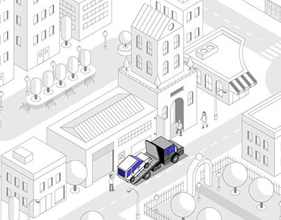 Comvoy Truck // Isometric Illustration
