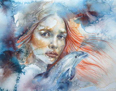"""""""She wants to see the raging ocean"""". Watercolor."""