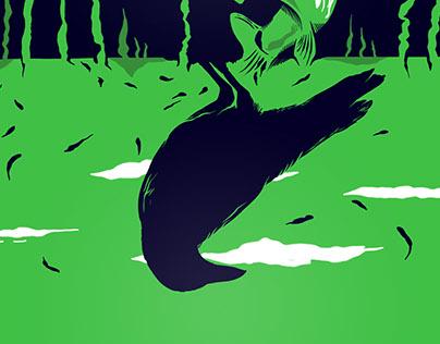Salmón y Cuervo. Salmon and Crow.
