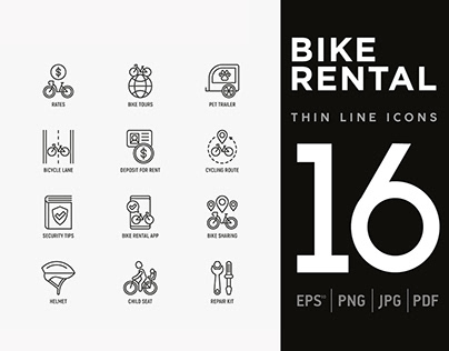 Bike Rental | 16 Thin Line Icons Set