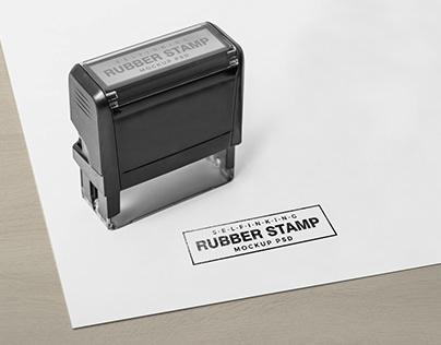 Free Self Inking Rectangular Rubber Stamp Mockup PSD