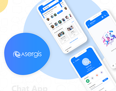 Chat App Design(Asergis), UI UX, 1 to 1 & group chat,