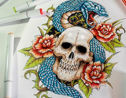 Simplistic Colored Tattoo Desings