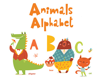 Cute Animals Alphabet in cartoon flat style