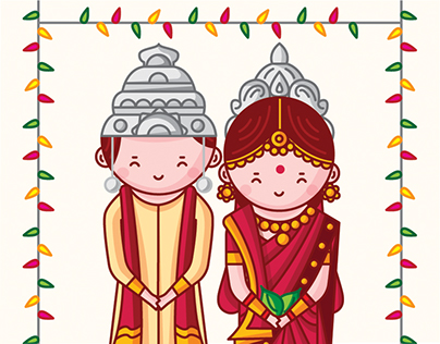 Cute Indian Brides and Grooms' Wedding Invitation Cards