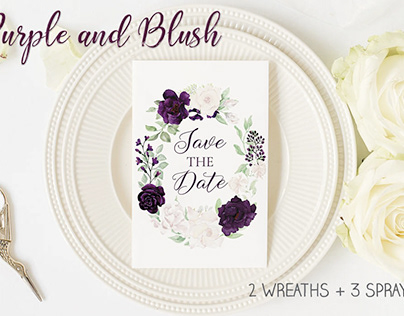 Purple and blush floral wreaths and sprays