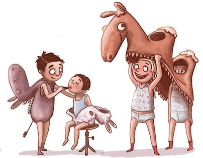 "Childrens book illustrations ""Julenat i Betlehem"""