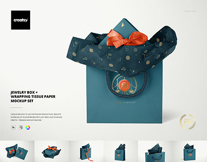 Jewelry Box & Bag Wrapping Tissue Paper Mockup Set