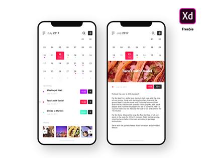 Calendar UI - Freebie for Adobe XD