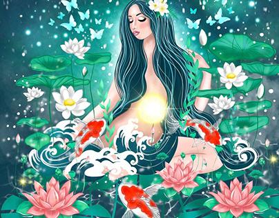 fantasy girl and chakra manipura