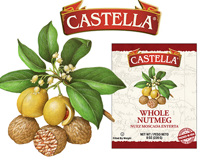 Illustrations of Herbs and Spices for Castella Imports