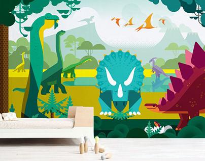 dinosaur time :: kids wall mural
