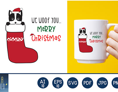 We Woof You Merry Christmas : Santa Cute Dog Graphic