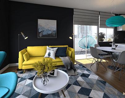 Dark Turquoise Modern - interior design
