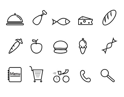 Icon set for food delivery service app