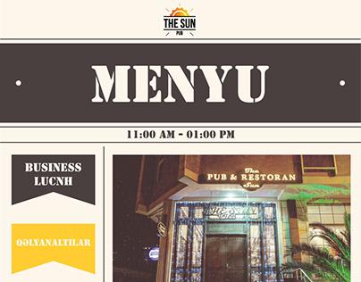 The Sun Pub menu