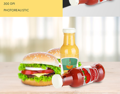 Realistic sauce bottle mock up Free Psd