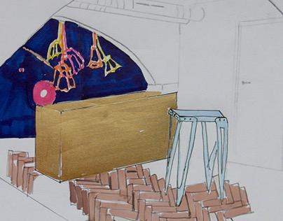 basement bar and workplace design