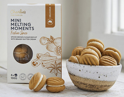 Charlie's Mini Melting Moments Packaging illustrations