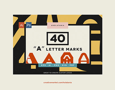 "Product design. 40 ""A"" letter marks."