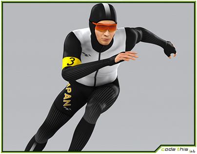3D Model: Speed Skater Animated HQ 001