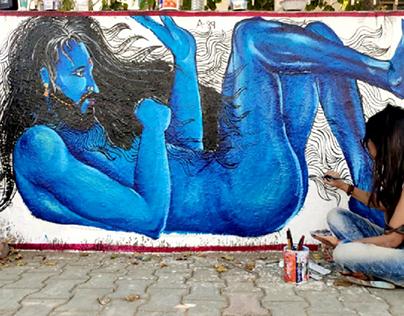 Wall Graffiti: 02: competition at LD College, Ahmedabad