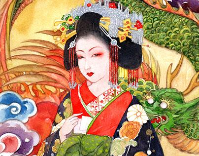 Geisha & Gisaegn watercolor handdrawing