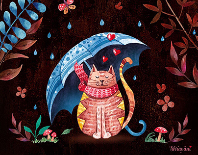 Cute Cat Illustration Wall Decor