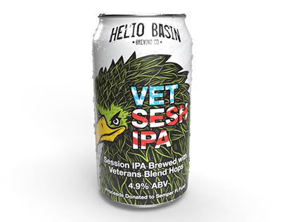 Vet Sesh IPA Label Design for Helio Basin Brewing Co.
