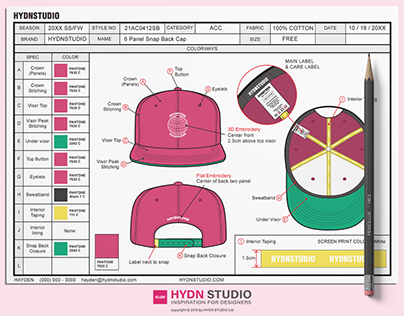 Snapback Tech Pack Template for Fashion Apparel