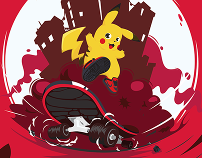 Pikachu Skateboarding Illustration