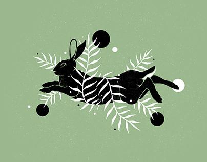 Botanical Hare Illustration