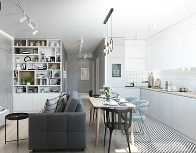 Дизайн проект кухни гостиной в г. Минск 20 м2