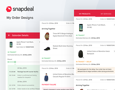 Snapdeal App Order Designs